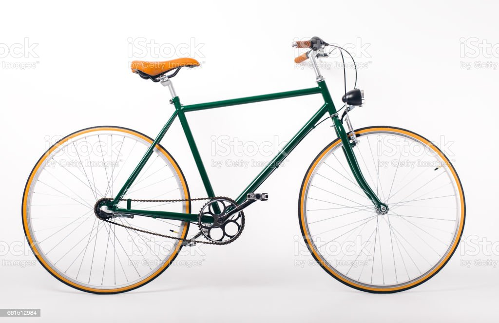 Vintage bicycle on white background stock photo