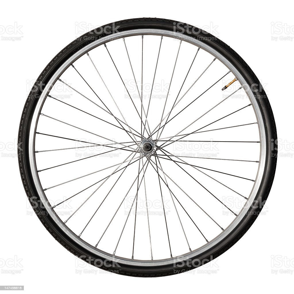 Vintage Bicycle Wheel Isolated On White stock photo