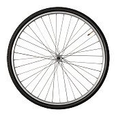 Vintage Bicycle Wheel Isolated On White