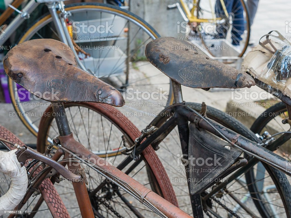 Vintage bicycles on display at L'Eroica, Italy stock photo