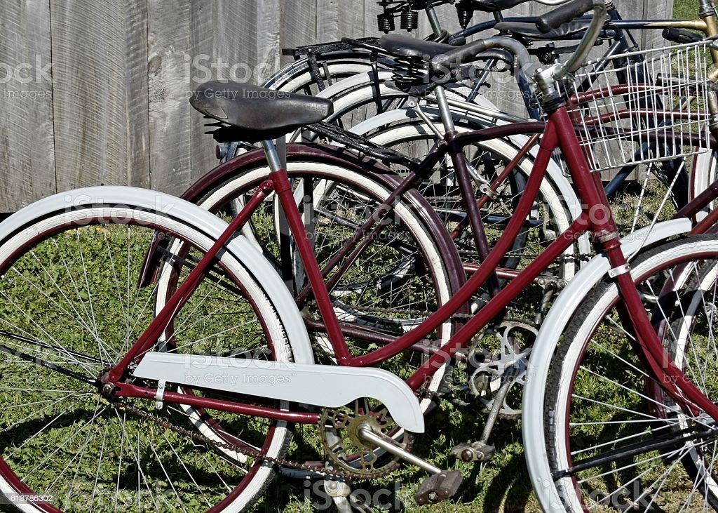 vintage bicycles stock photo