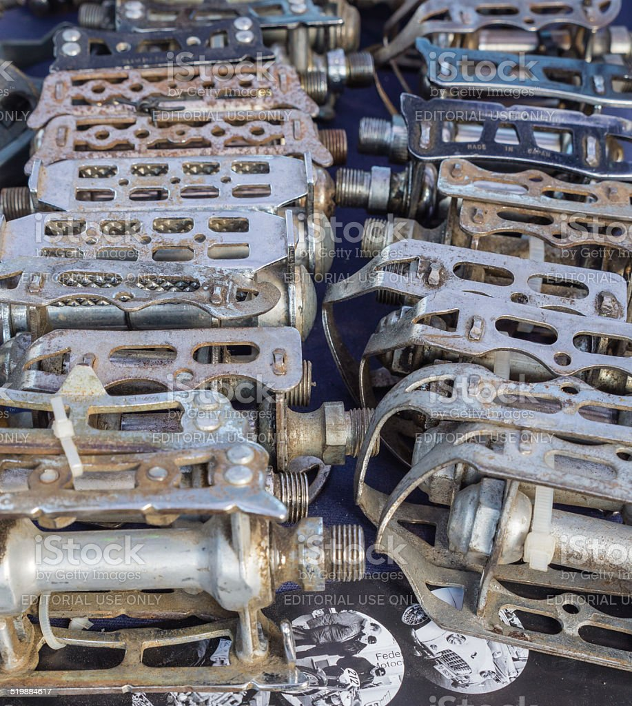 Vintage bike parts on display at L'Eroica, Italy stock photo