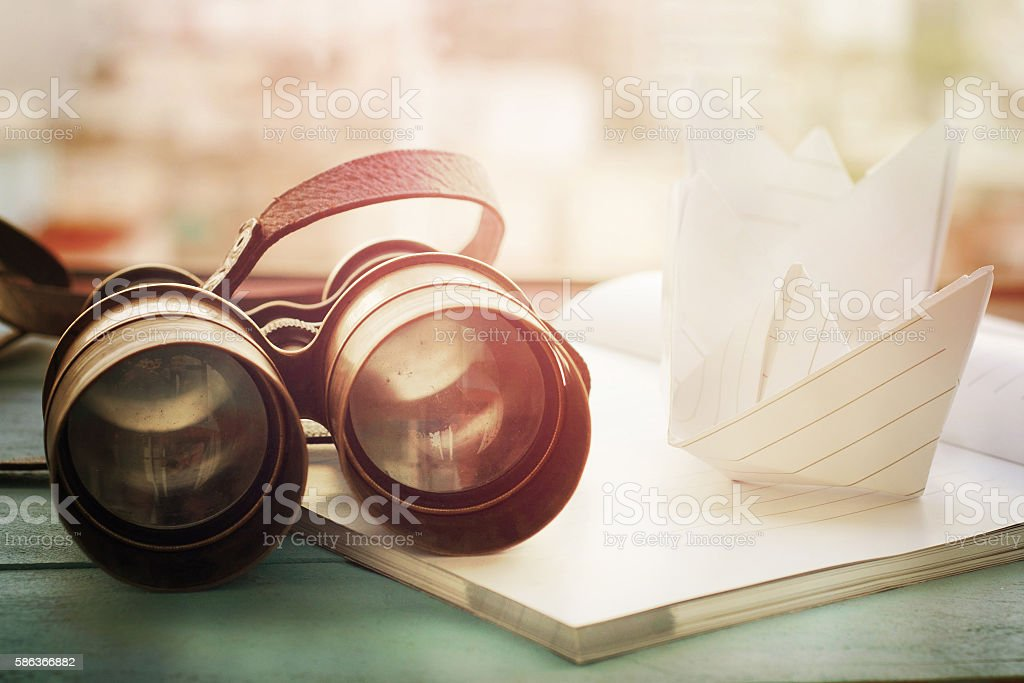 Vintage binoculars. Travel concept. stock photo