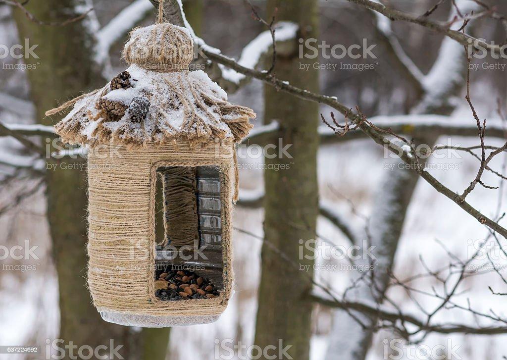 Vintage bird feeders. Handmade. Small depth of field. stock photo