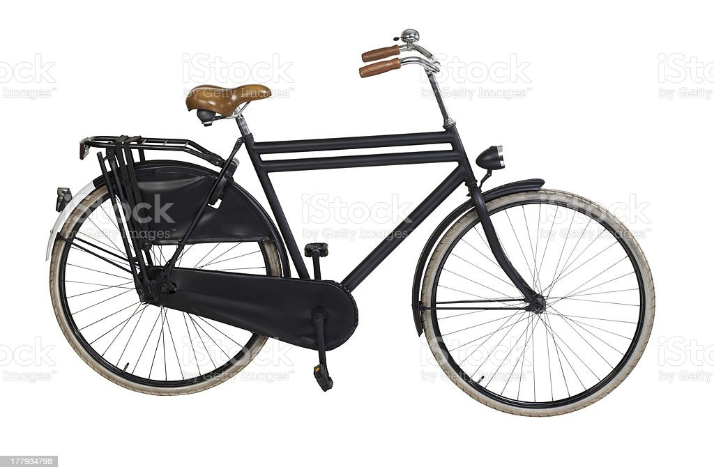 Vintage black bicycle on a white background stock photo