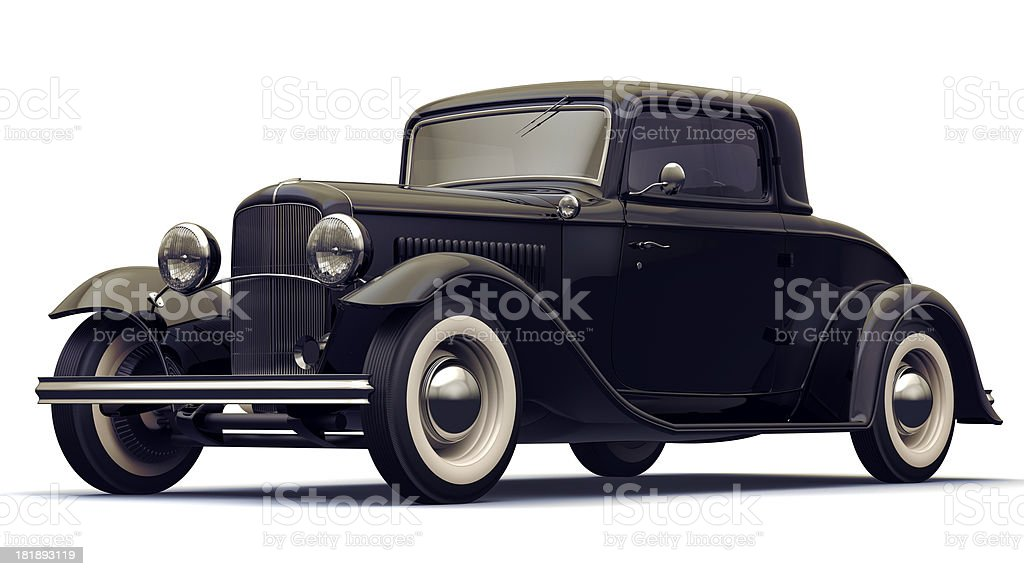 Vintage Black Car. Isolated with Clipping Path. royalty-free stock photo