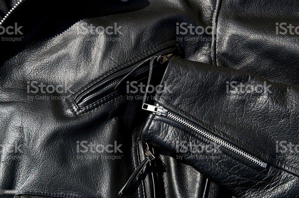 vintage black cowhide leather motorcycle jacket stock photo