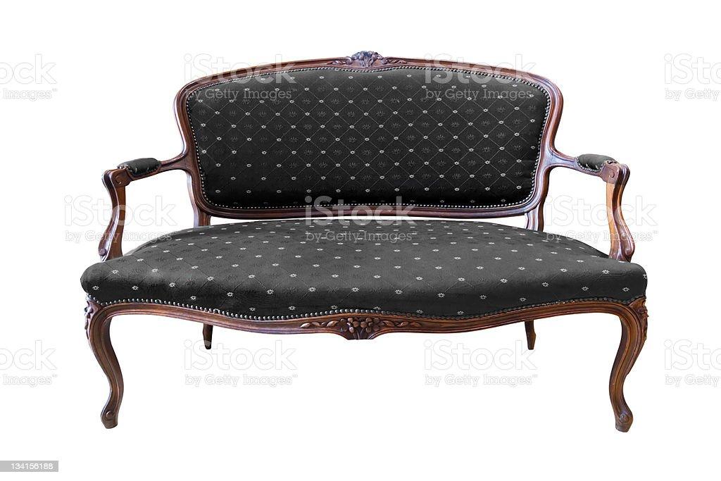 Poltrona di lusso vintage nera isolata con percorso clip foto stock royalty-free