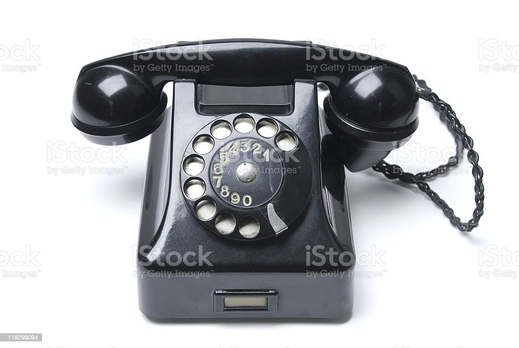 Vintage black phone stock photo