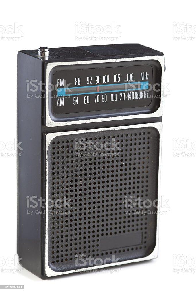 XXXL Vintage Black Plastic Radio Chrome Isolated White Background stock photo