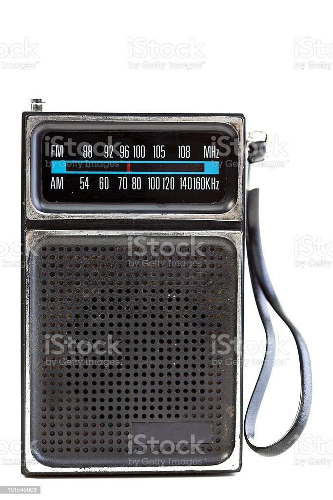 XXXL Vintage Black Portable Transistor Radio Isolated on White Background stock photo