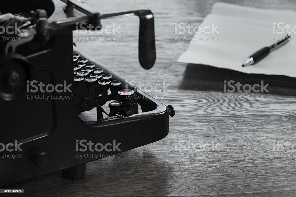 Vintage black typewriter stock photo