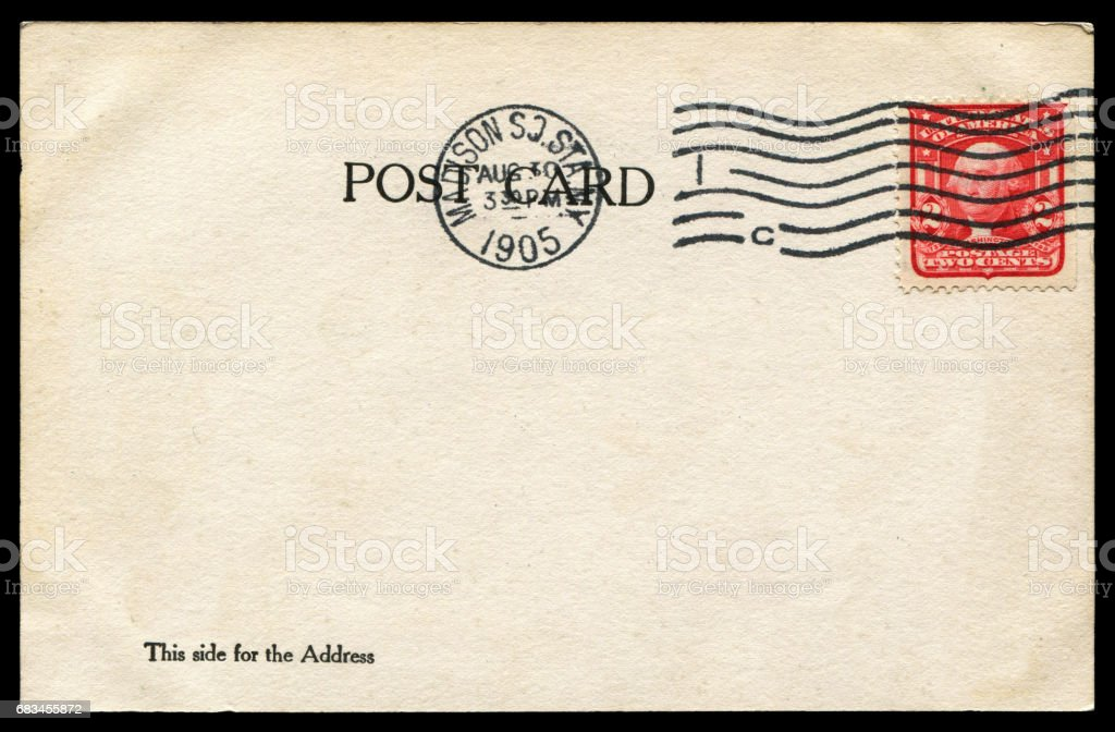 vintage blank American postcard sent from Madison Square, New York in 1905 stock photo