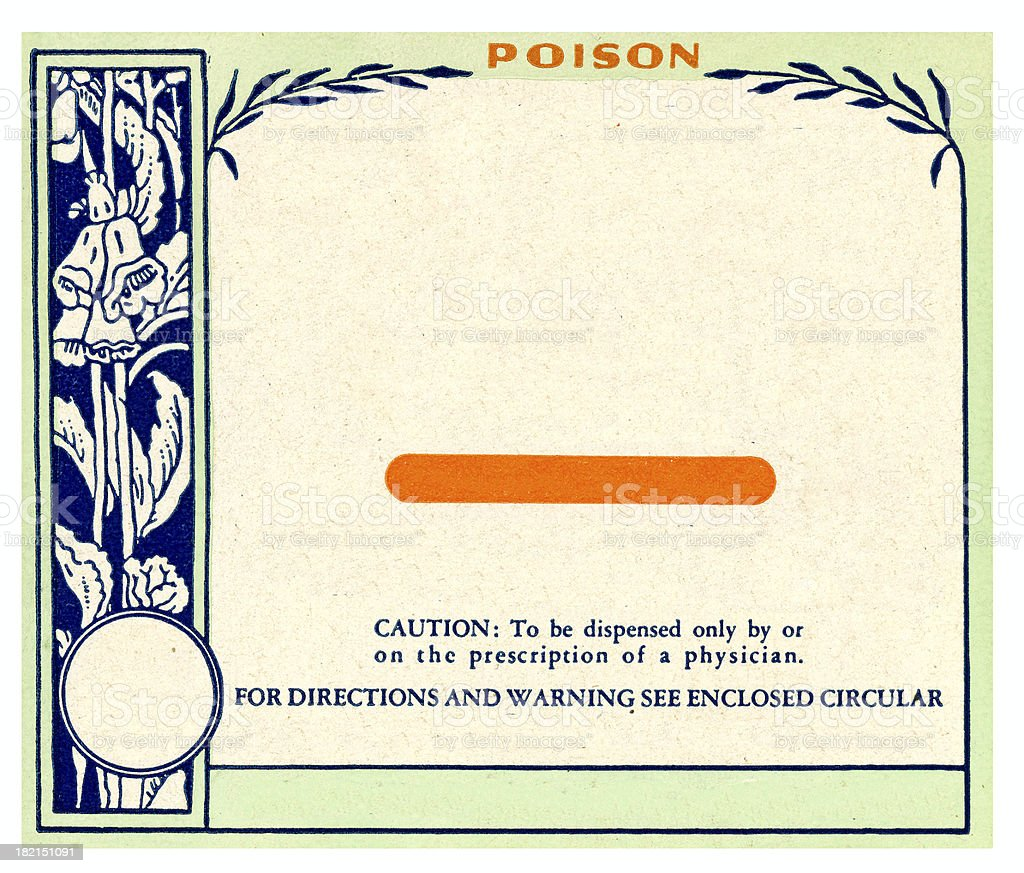 Vintage Blank Flowery Pharmacy Drug Label Prescription Poison royalty-free stock photo