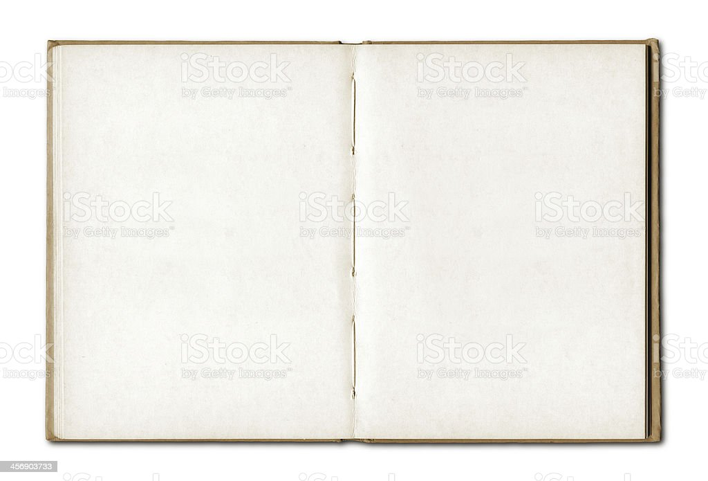 Vintage blank open notebook stock photo