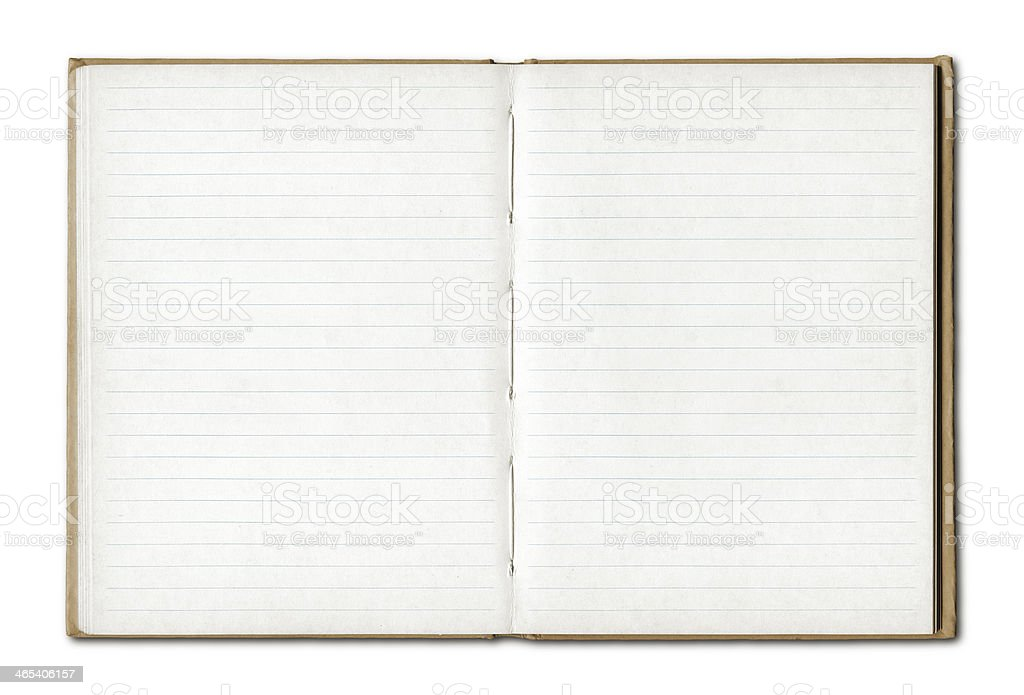 Vintage blank open notebook stock photo