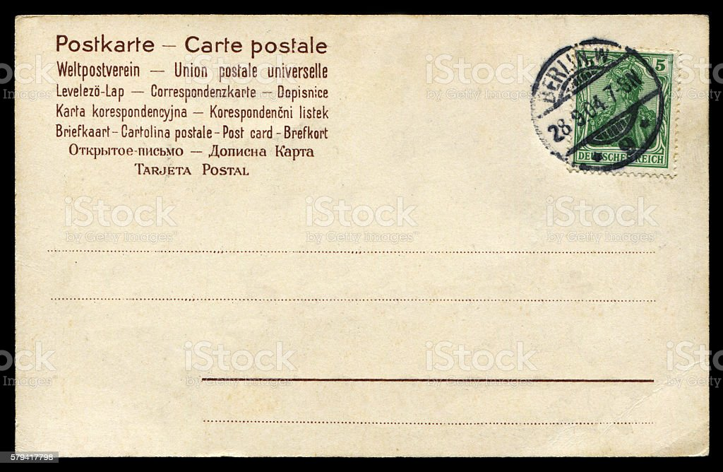 vintage blank postcard from Berlin, Prussia( now Germany) stock photo