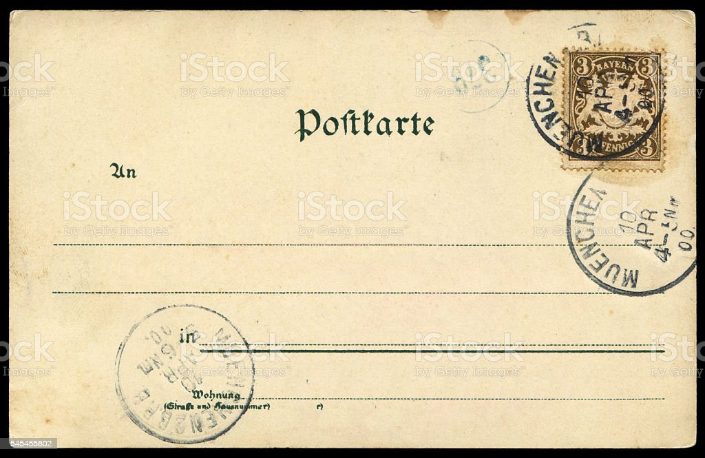 Vintage blank postcard from Munich, Germany. stock photo