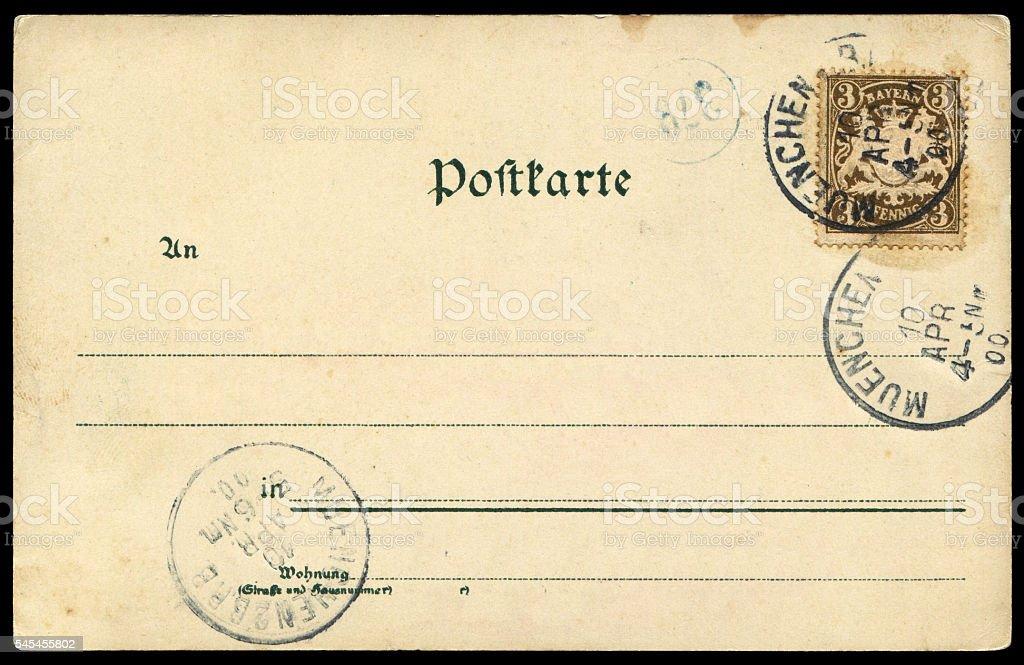 Vintage blank postcard from Munich, Germany. stock photo