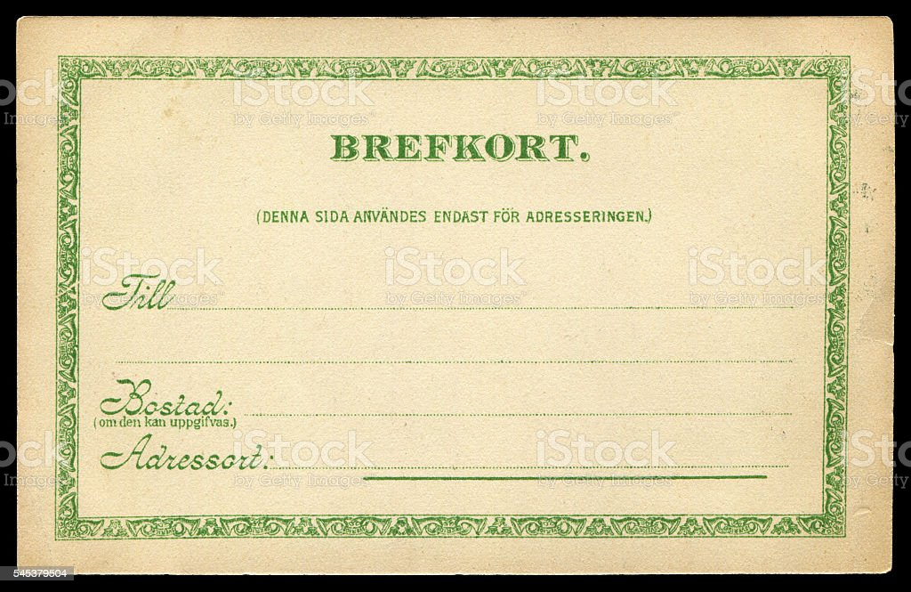 vintage blank postcard from Sweden stock photo