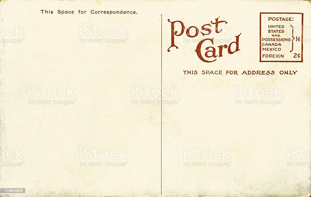 Vintage blank postcard royalty-free stock photo