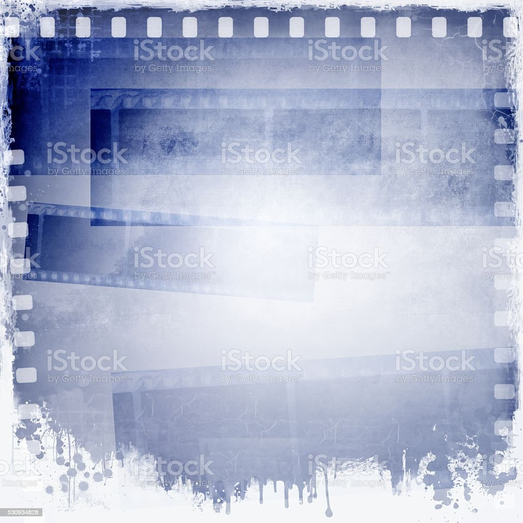 Vintage blue and white film strip frame background. stock photo