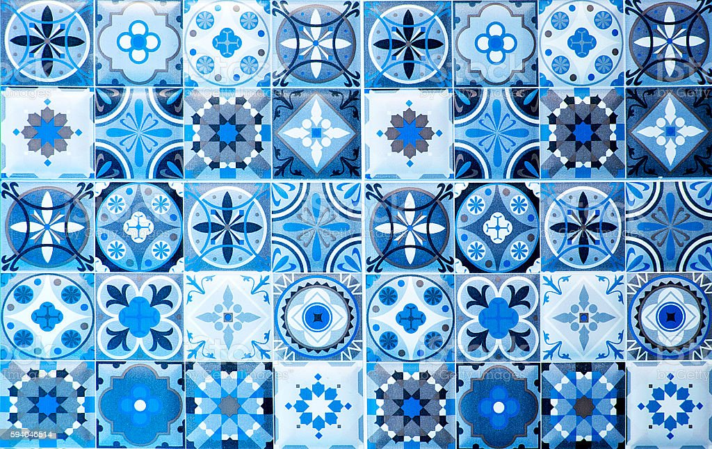 vintage blue ceramic tiles wall decoration.Turkish ceramic tiles stock photo