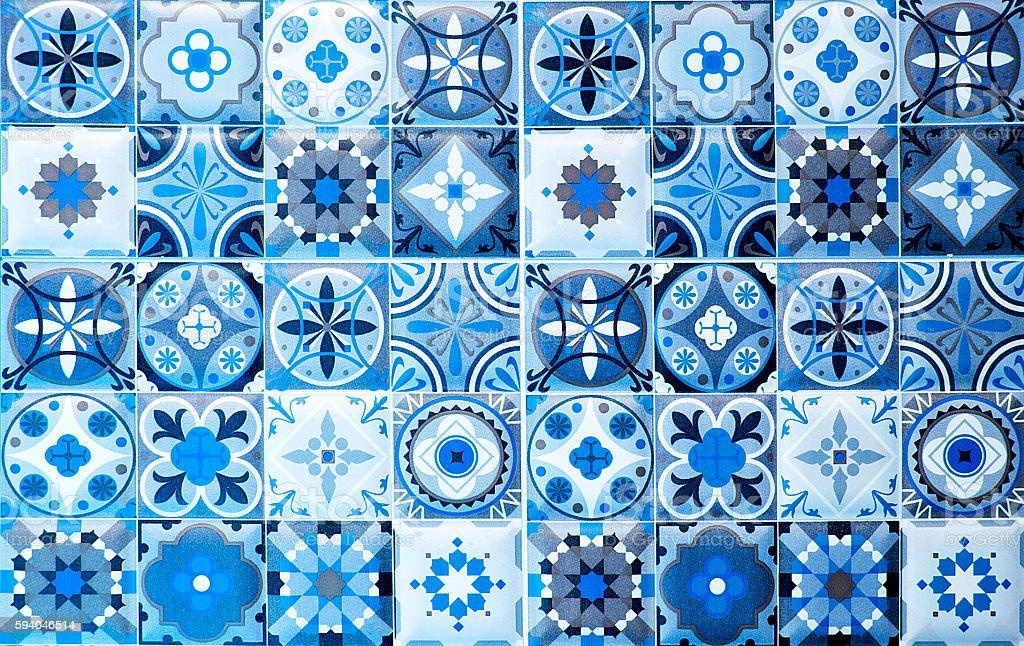 vintage blue ceramic tiles wall decoration.Turkish ceramic tiles stock photo