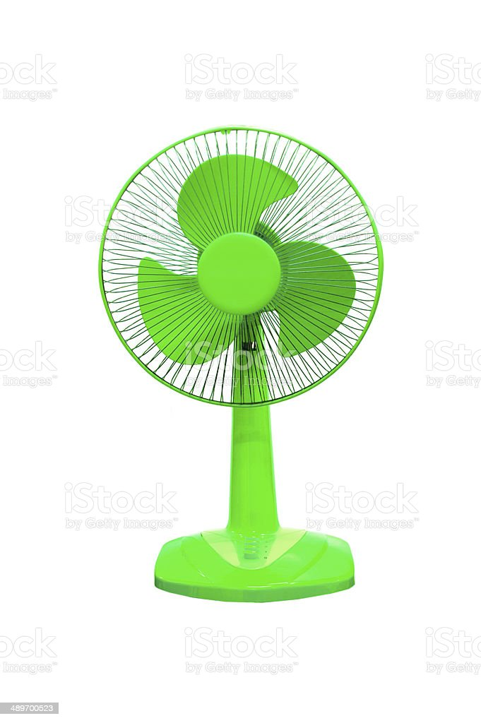 vintage blue electric fan on white background stock photo