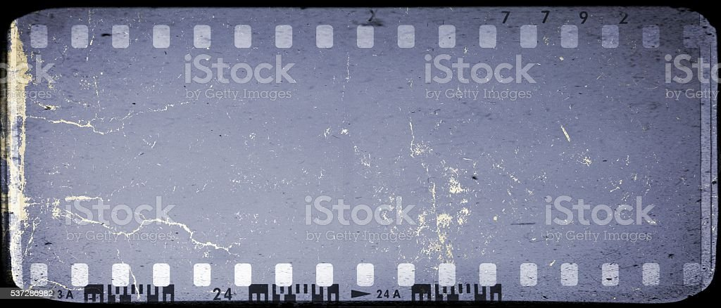 Vintage blue film strip frame background stock photo