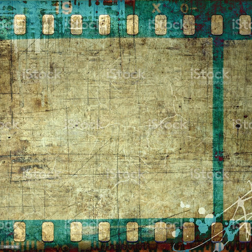 Vintage blue film strip frame stock photo