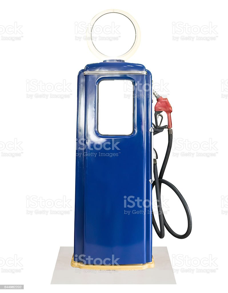 Vintage blue fuel pump on white background stock photo