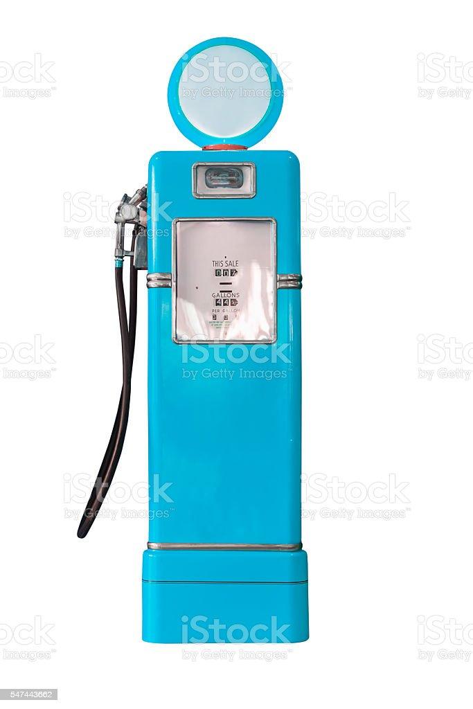 Vintage blue fuel pump on white stock photo
