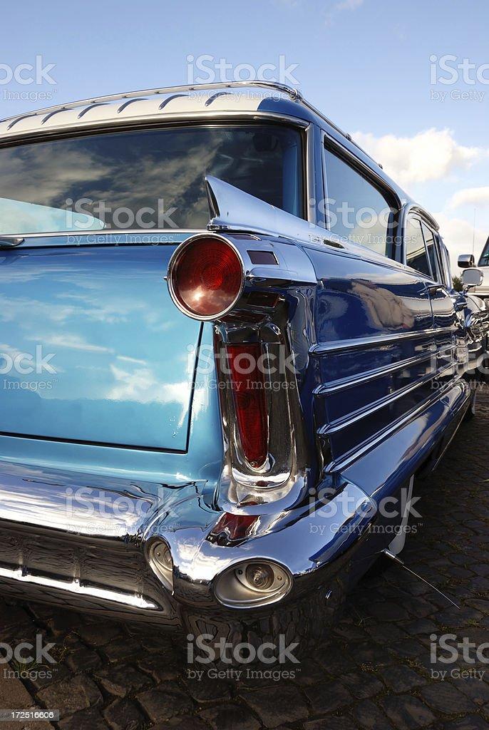 vintage blue metallic station wagon royalty-free stock photo