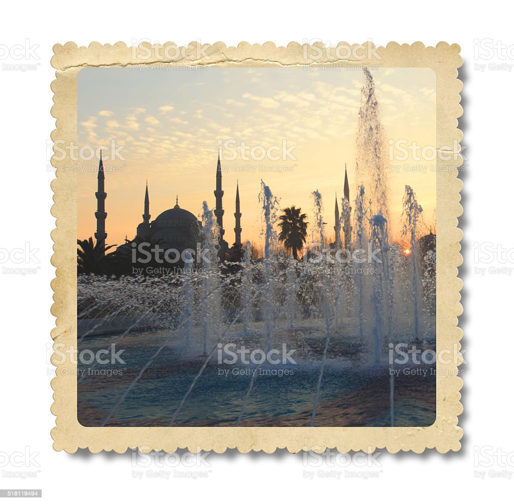 Vintage Blue Mosque Photo (Clipping Path) stock photo