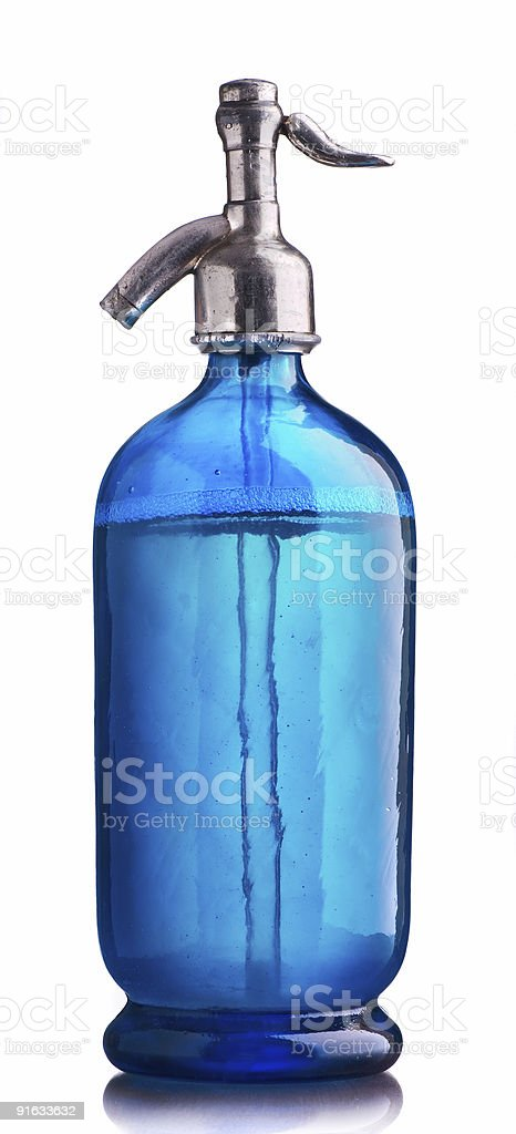 Vintage blue siphon of water stock photo