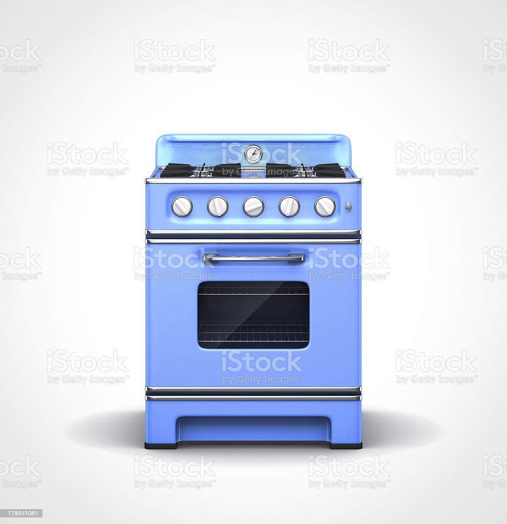 vintage blue stove stock photo