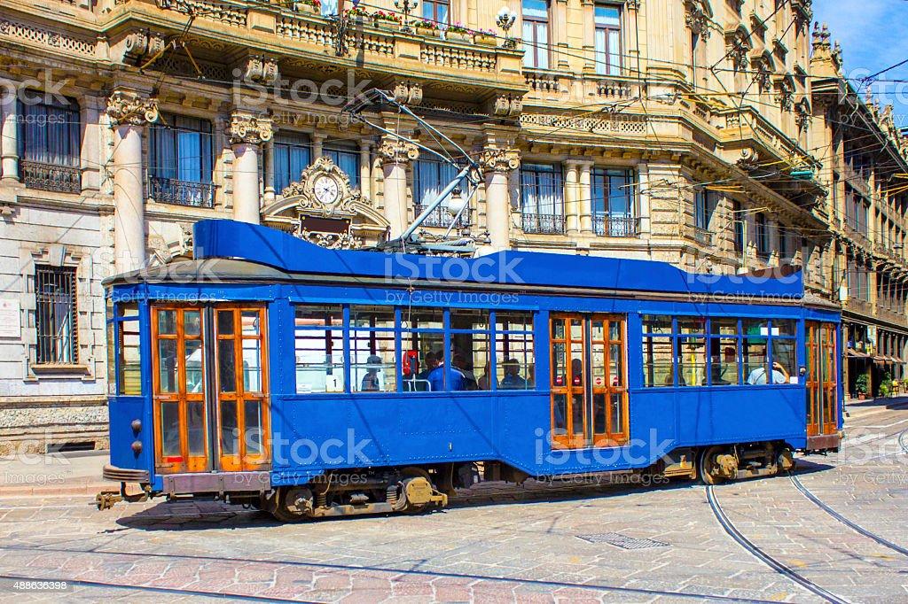 Vintage blue tram in Milano, ITALY stock photo