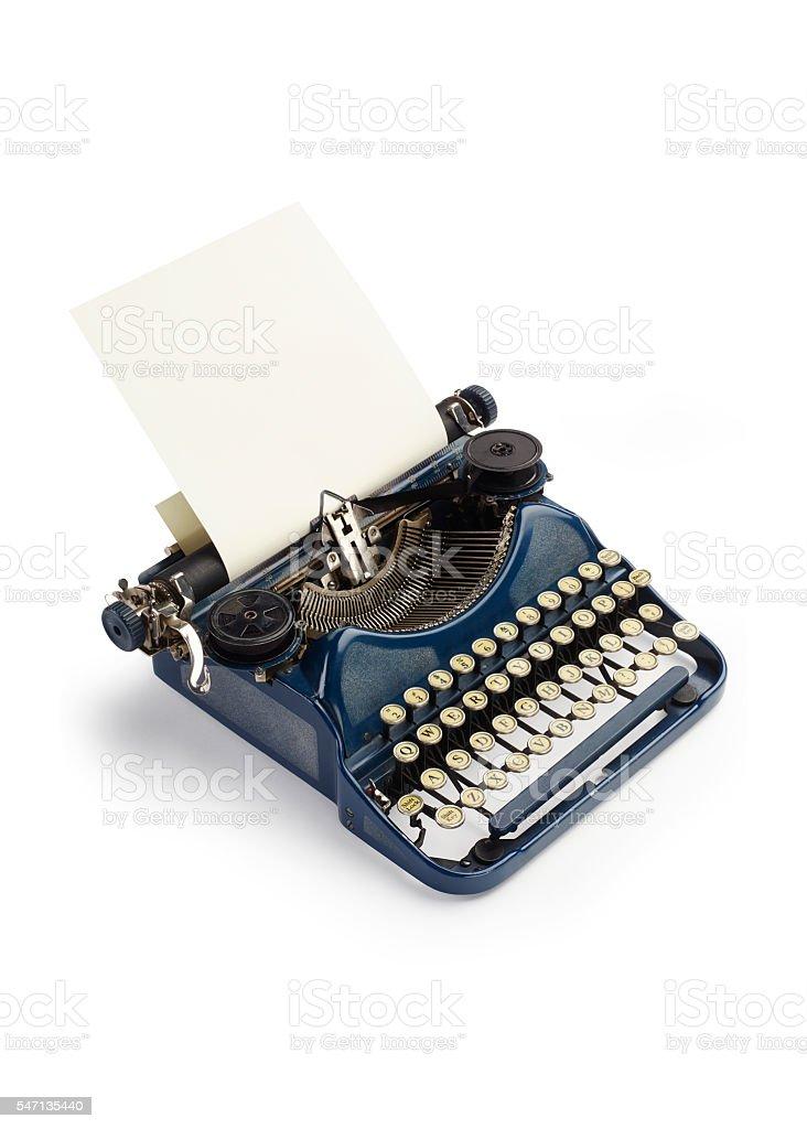Vintage blue typewriter stock photo