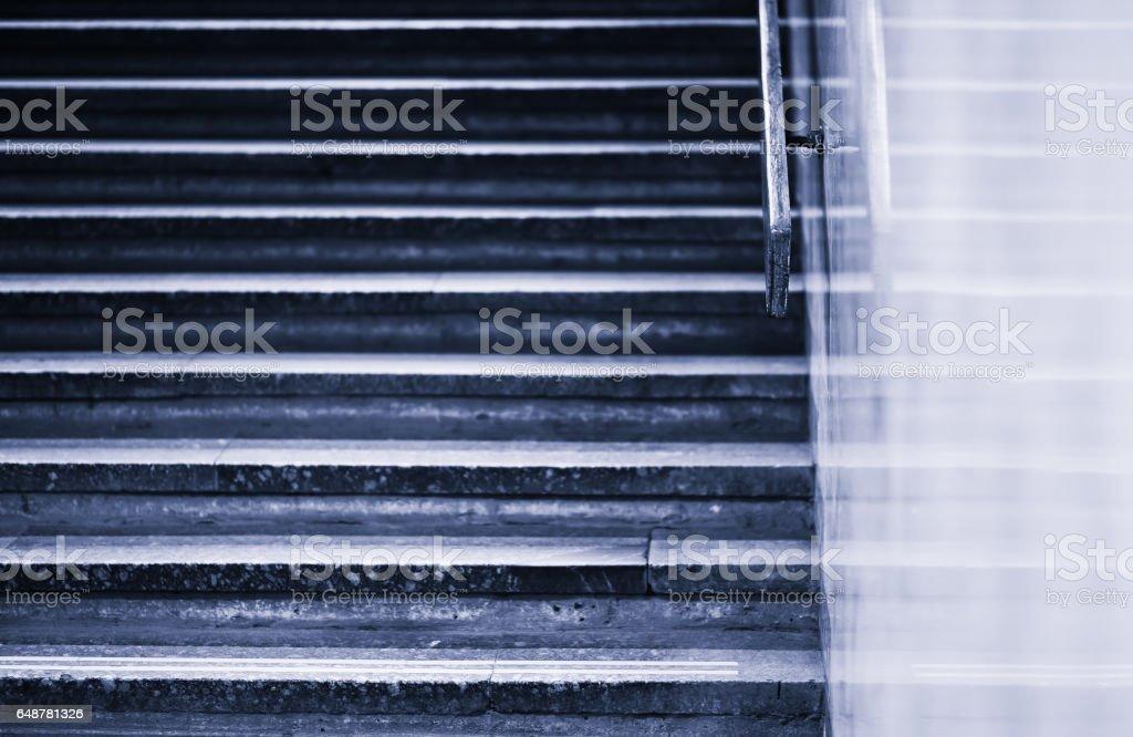 Vintage blueish horizontal jaggies stairs backdrop stock photo