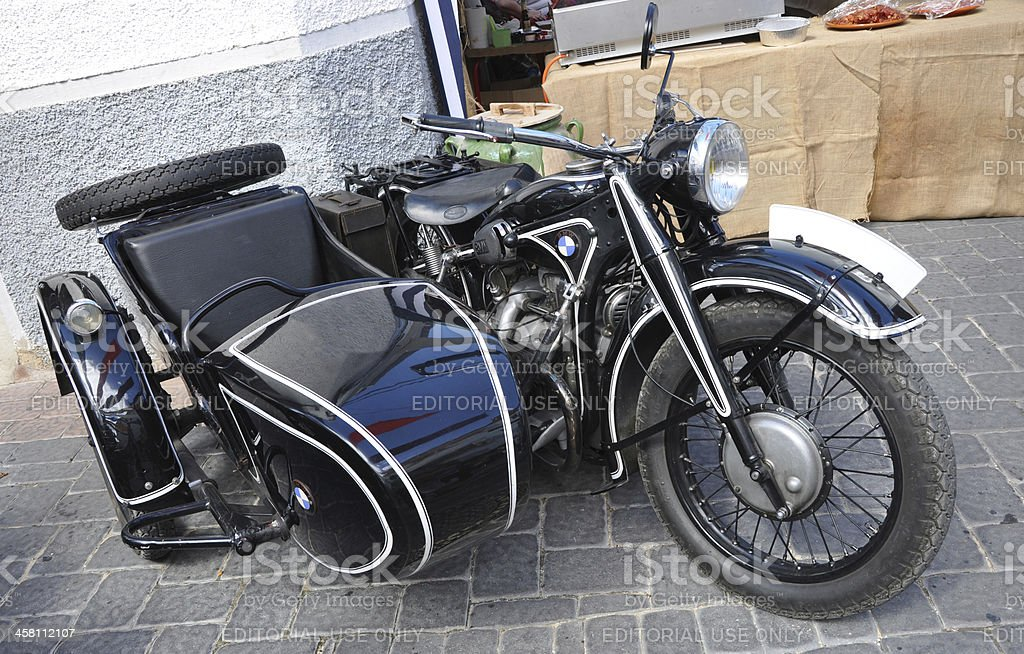 Vintage BMW Motorcycle and Side Car stock photo