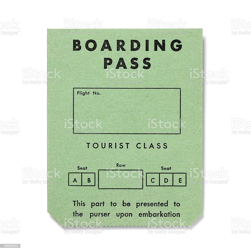 Vintage boarding pass on white - Tourist Class royalty-free stock photo