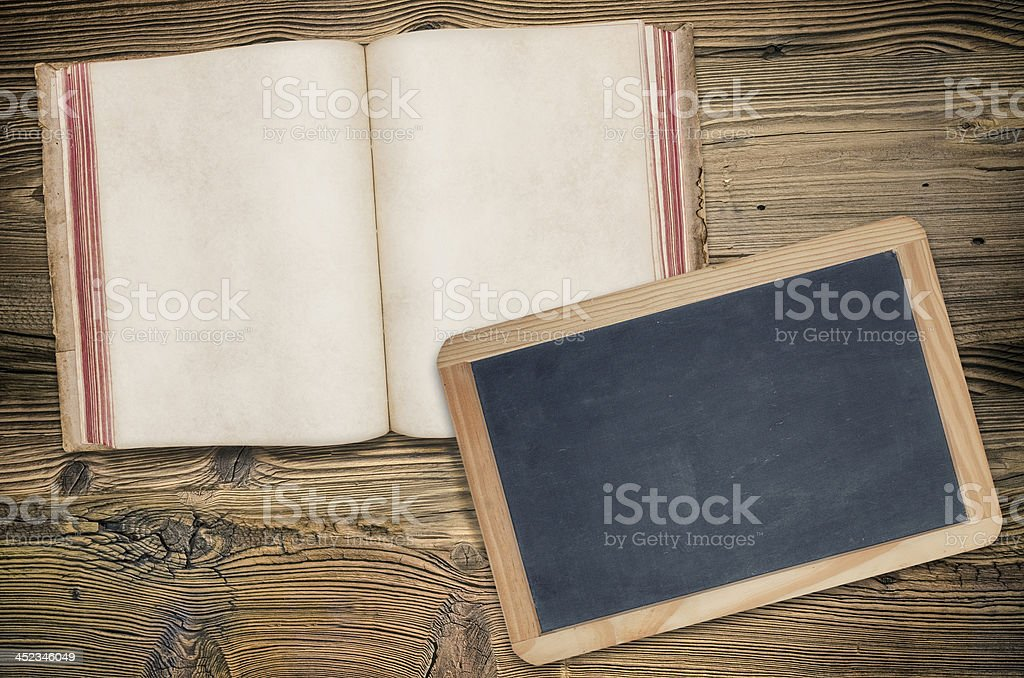 vintage book and blackboard royalty-free stock photo