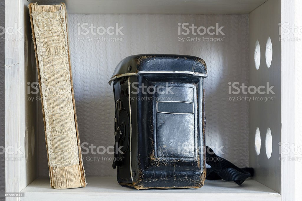 vintage book and camera royalty-free stock photo