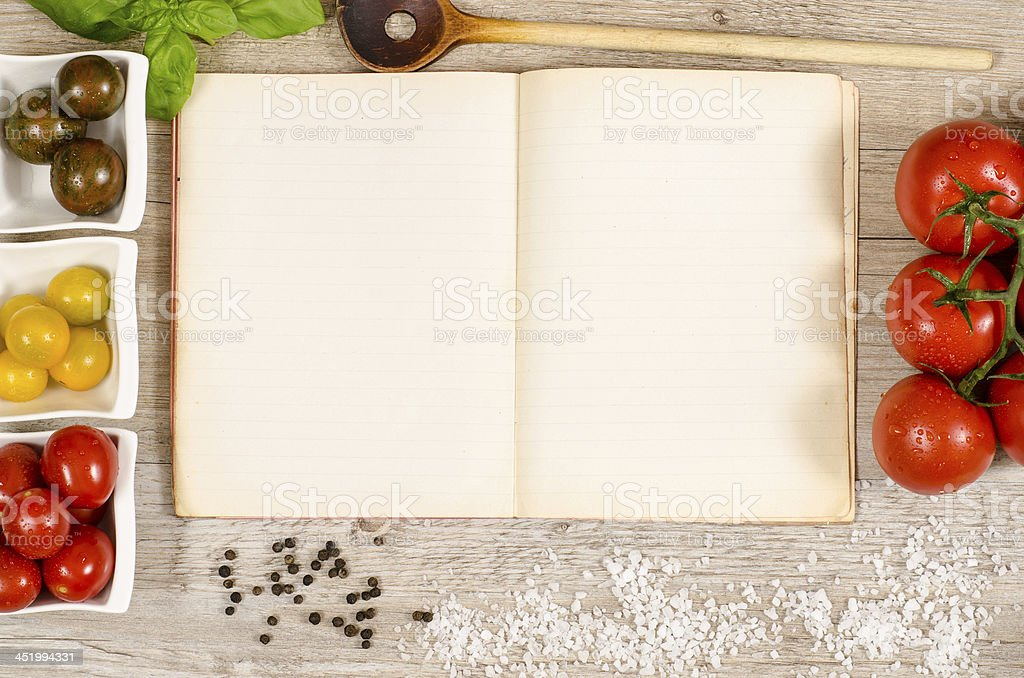 Vintage book and paper with text space stock photo