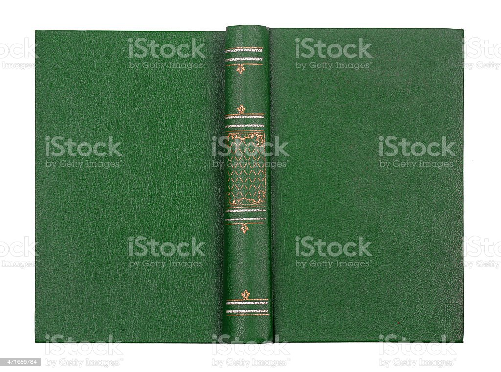 Vintage book cover green isolated on white stock photo