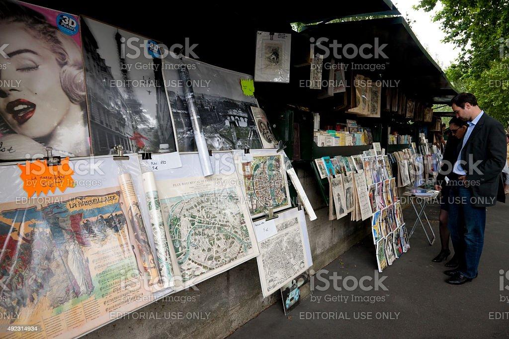 Vintage book market in Paris, France stock photo
