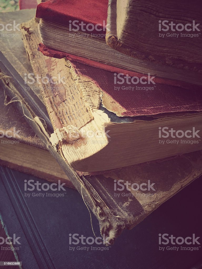 Vintage book stack stock photo