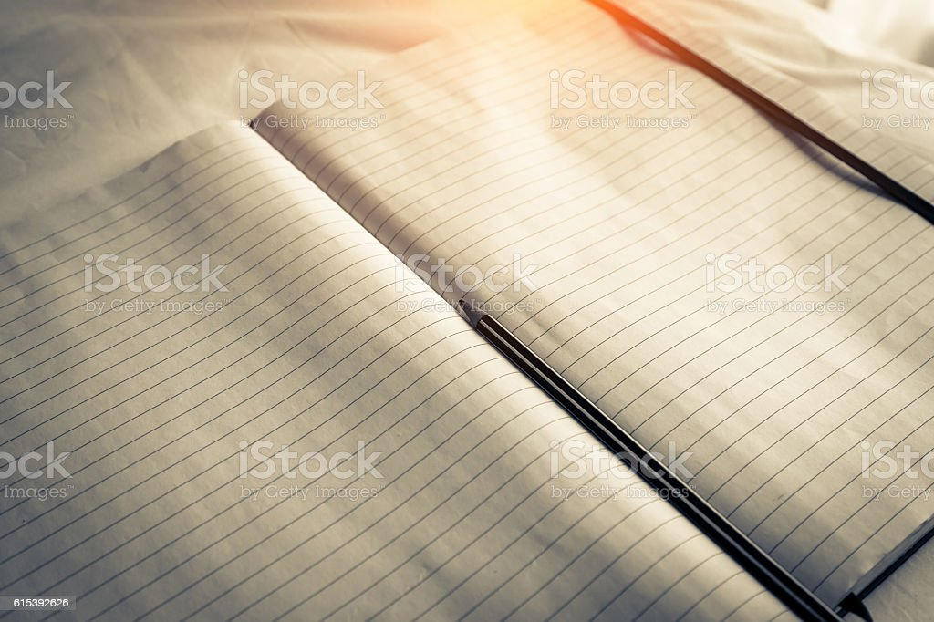 Vintage Book with Blank Pages as Copy Space stock photo