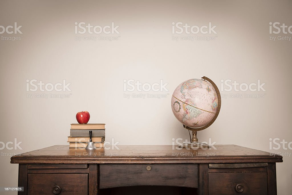 Vintage Books and Globe Sitting on Desk, With Copy Space royalty-free stock photo